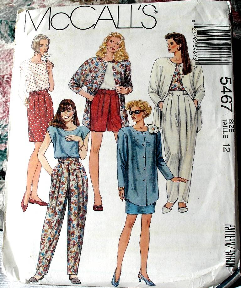 McCall's 5467 Misses Jacket Top Skirt And Pants In Two Lengths Size 12 Pattern