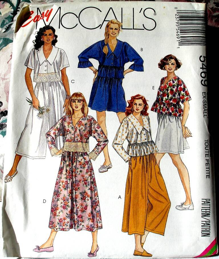 McCall's 5469 Misses Baby Doll Top And Split Skirt in Two Lengths Size X-Small (6-8)
