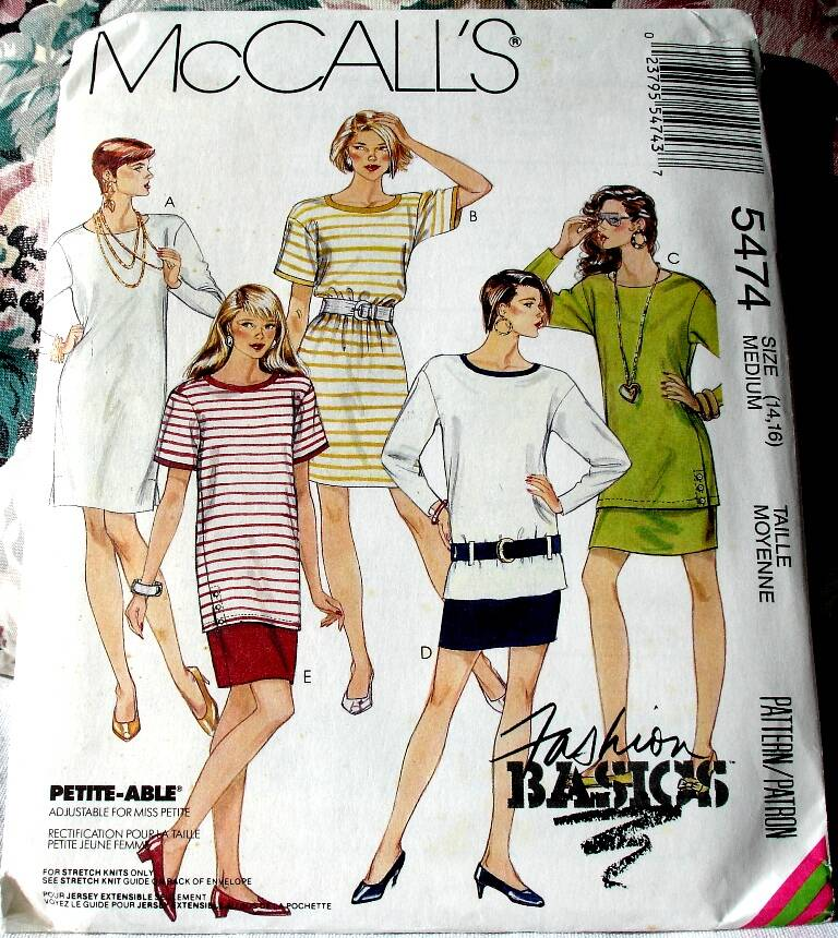 McCall's 5474 Misses One Or Two Piece Loose Fitting Dress And Belt Size Medium (14-16) Pattern