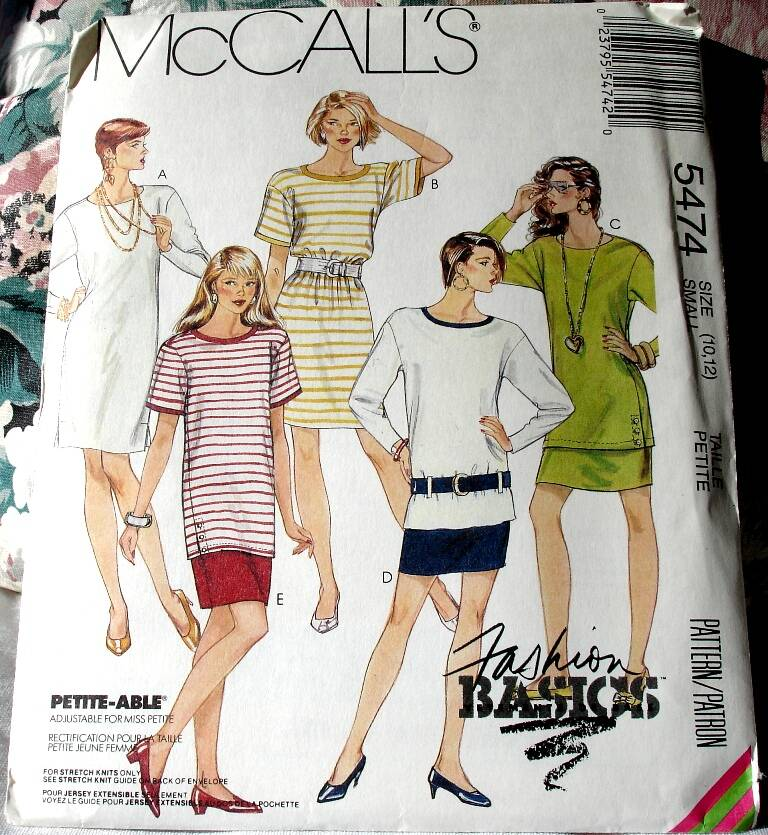 McCall's 5474 Misses One Or Two Piece Loose Fitting Dress and Belt Size Small (10-12)