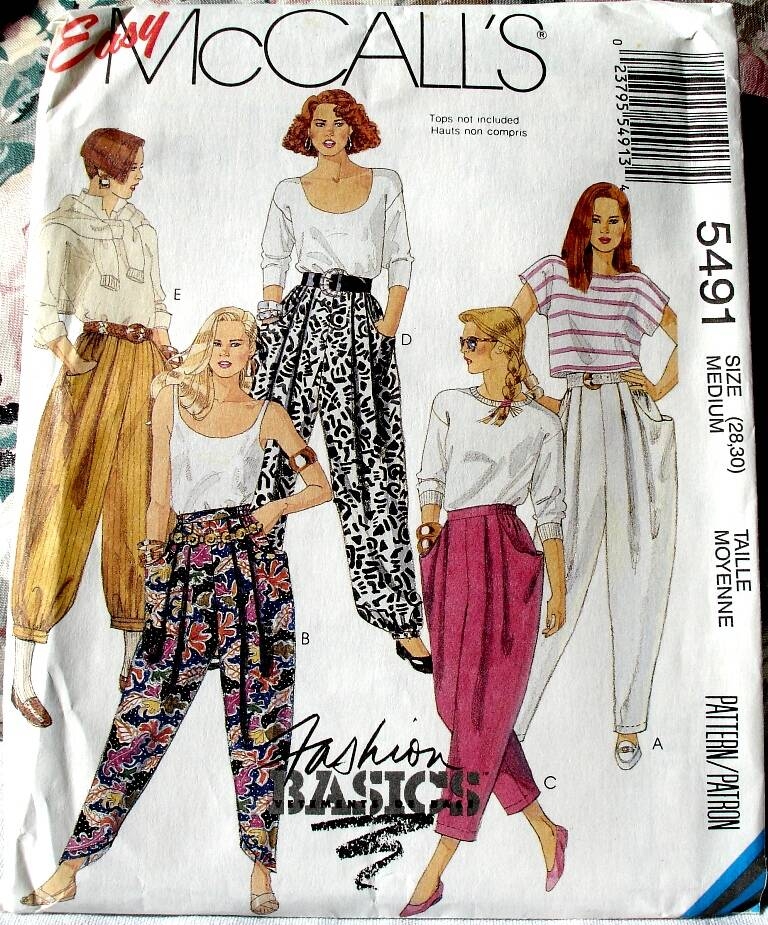 McCall's 5491 Misses Loose Fitting Pull On Novelty Pants Size Medium
