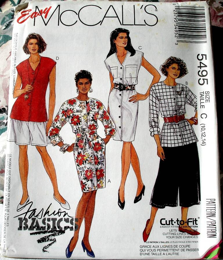 McCall's 5495 Misses Dress Or Tops And Split Skirt In Two Lengths And Tie Belt