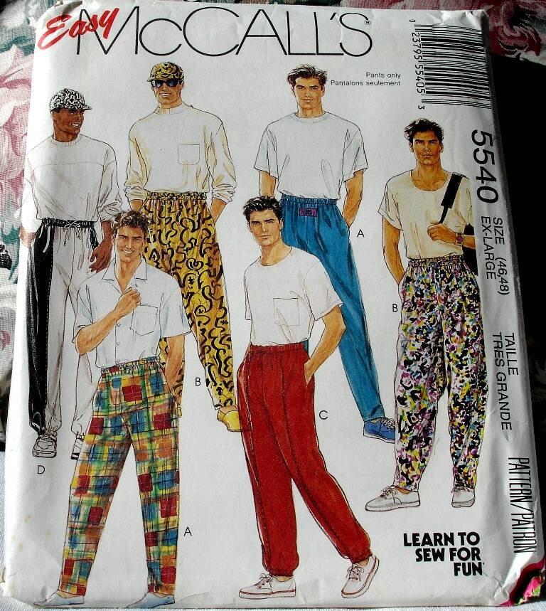 McCall's 5540 Easy To Sew Men's and Teen Boys Novelty Pants and Hat In Size XL