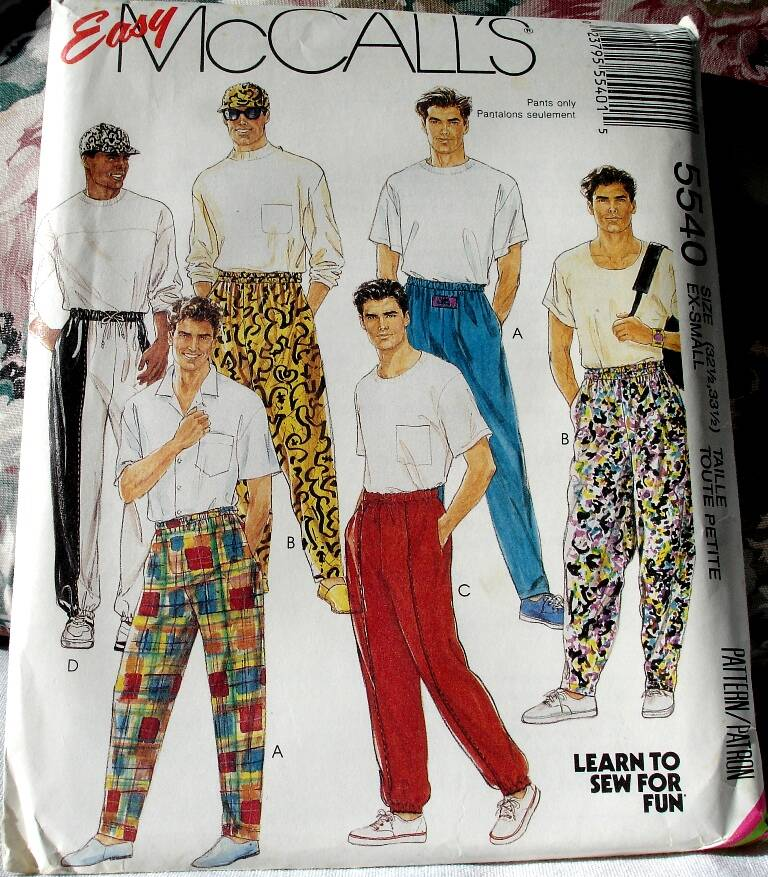 McCall's 5540 Easy To Sew Men's/Teen Boys Novelty Pants & Hat in Size X Small