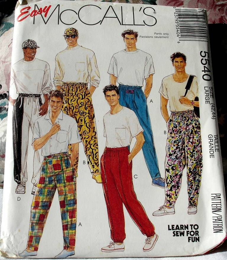 McCall's 5540 Easy To Sew Men's/Teen Boys Novelty Pants & Hat Size Large