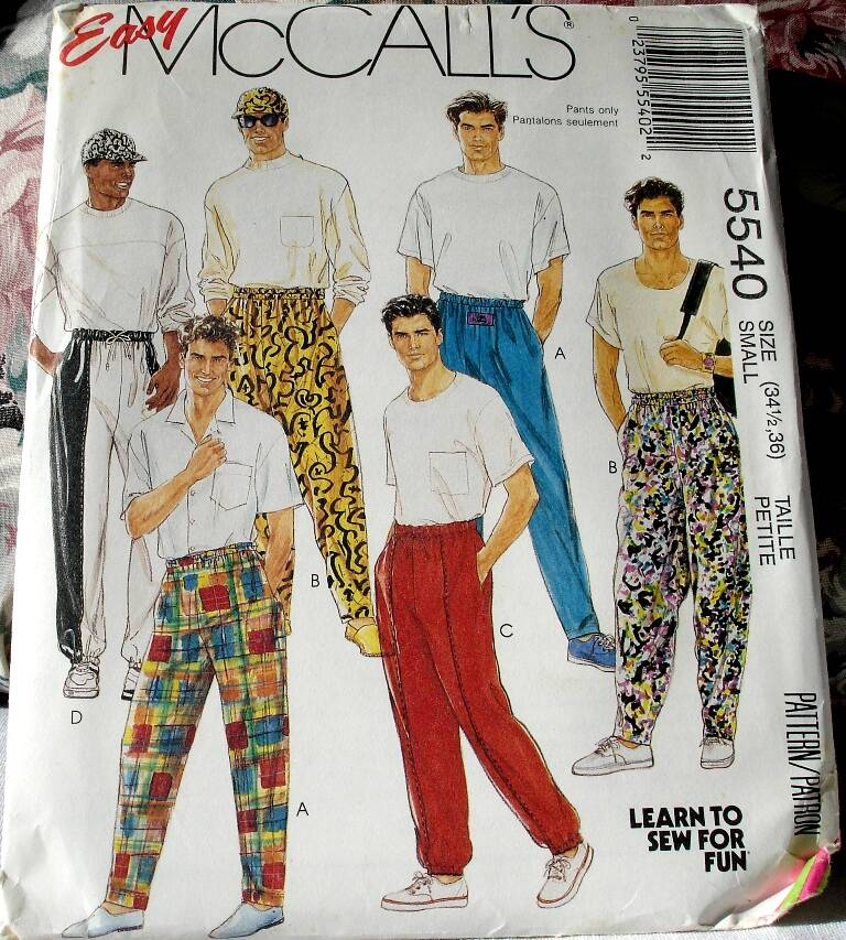 McCall's 5540 Easy To Sew Men's/Teen Boys Novelty Pants & Hat ( Size Small)