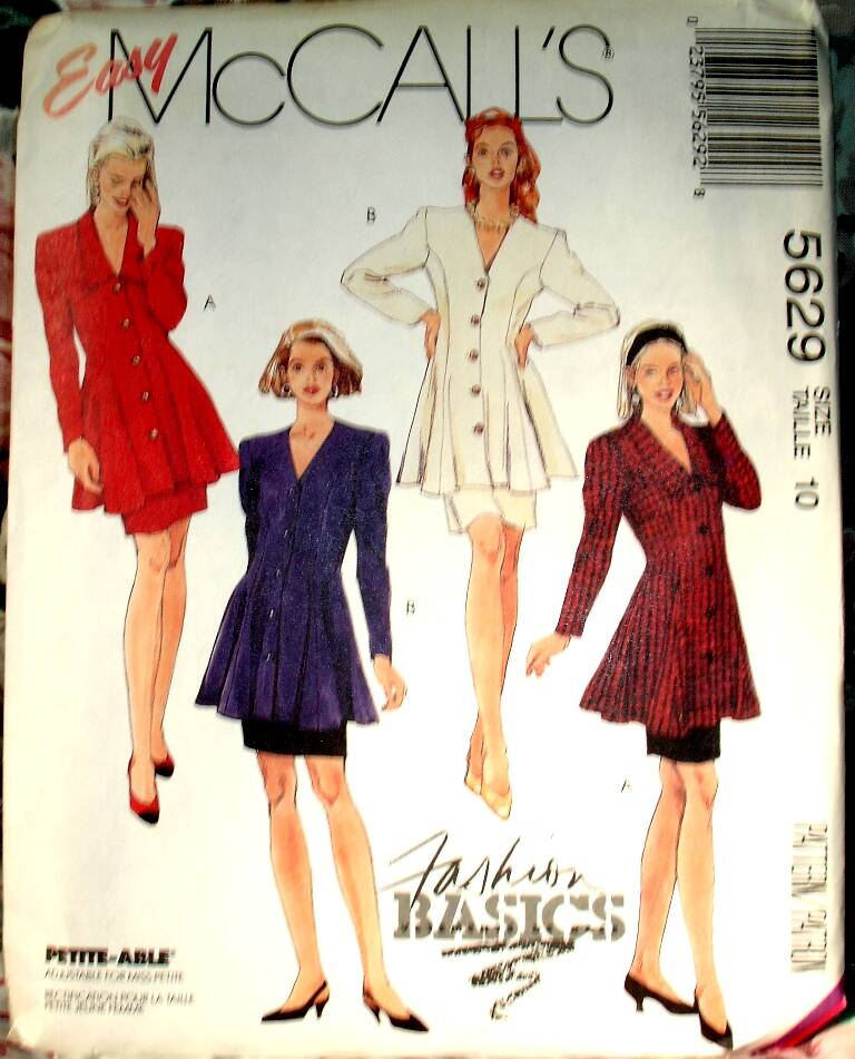 McCall's 5629 Two Piece Dress With Semi Fitted Flared Tunic And Skirt Size 10