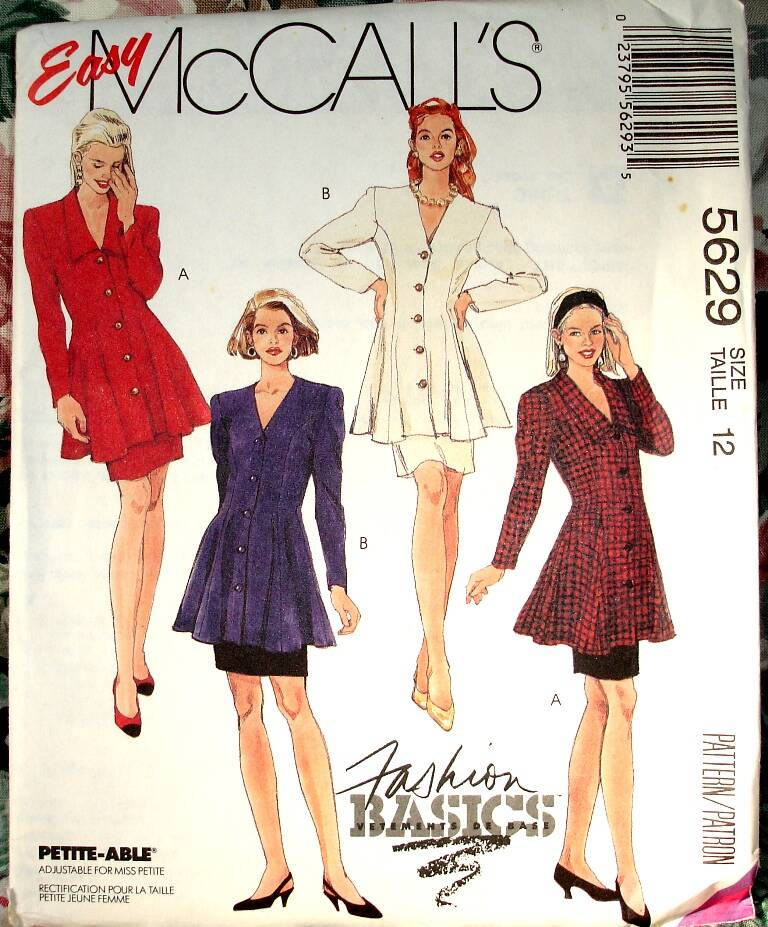 McCall's 5629 Two Piece Dress With Semi Fitted Flared Tunic And Skirt Size 12