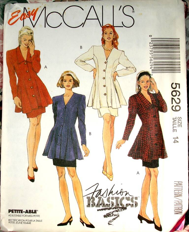 McCall's 5629 Two Piece Dress With Semi Fitted Tunic And Skirt Size 14