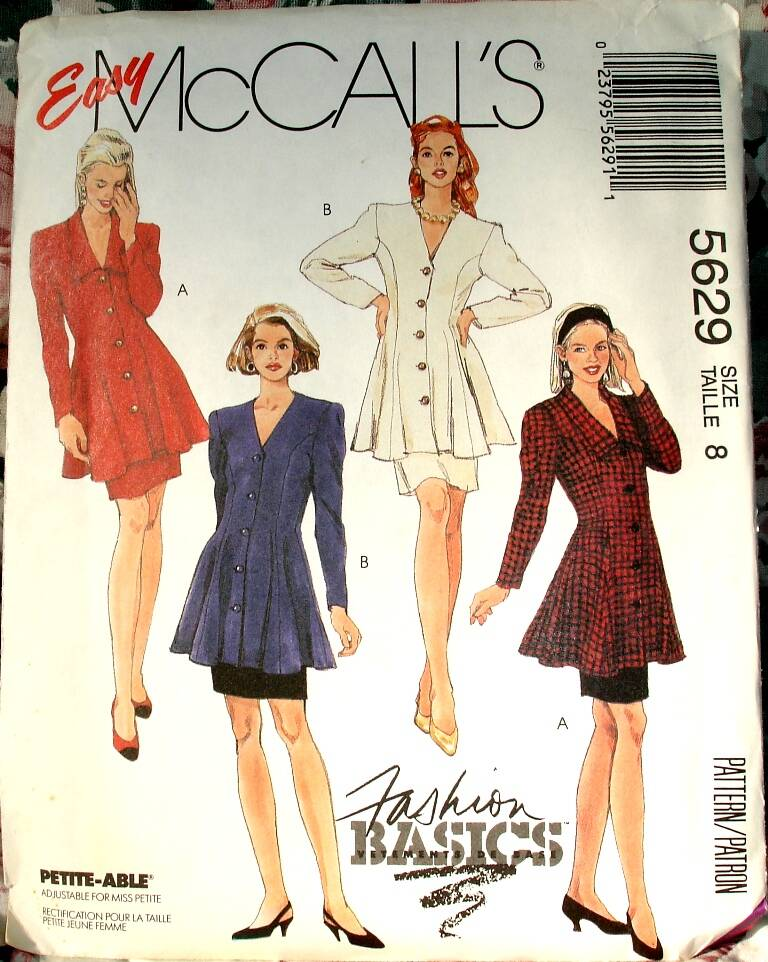 McCall's 5629 Two Piece Dress With Semi Fitted Flared Tunic And Skirt Size 8