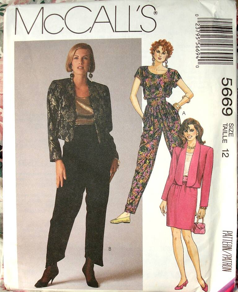 McCall's 5669 Misses Unlined Jacket Pullover Top Skirt And Pants Size 12