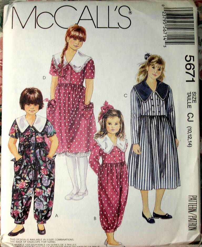 McCall's 5671 Girls Jumpsuit In Two Lengths And Above Waist Dress Size CJ(10-12-14)