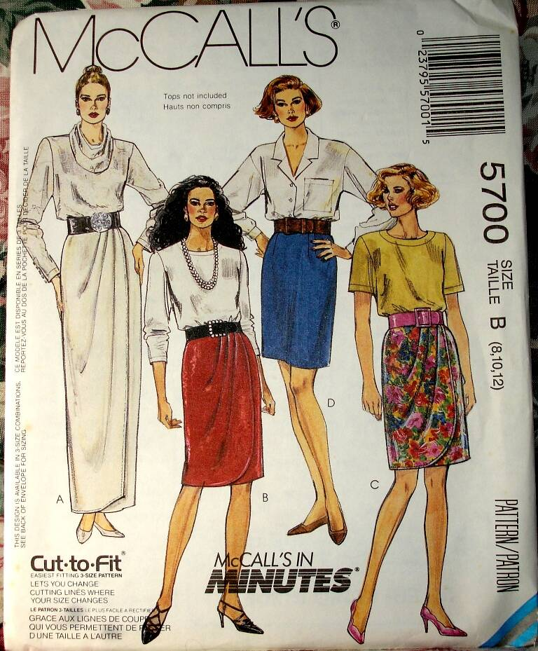 McCall's 5700 Misses Mock Wrap Straight Skirt In Three Lengths Size B(8-10-12)