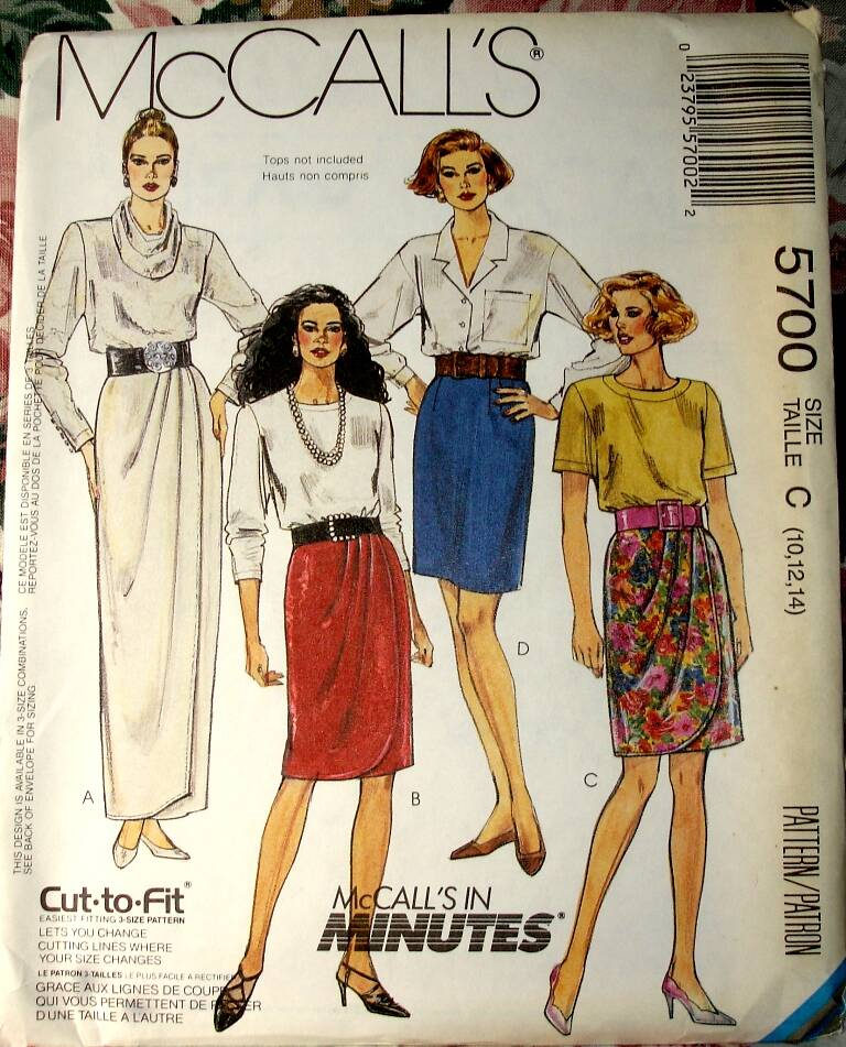McCall's 5700 Misses Mock Wrap Straight Skirt In Three Lengths Size C (10-12-14)