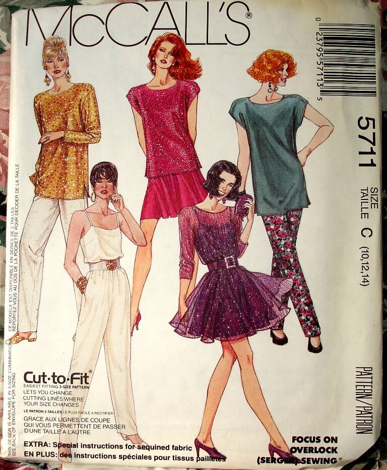 McCall's 5711 Loose Fitting Top Camisole Circular Skirt And Pull-On Pants