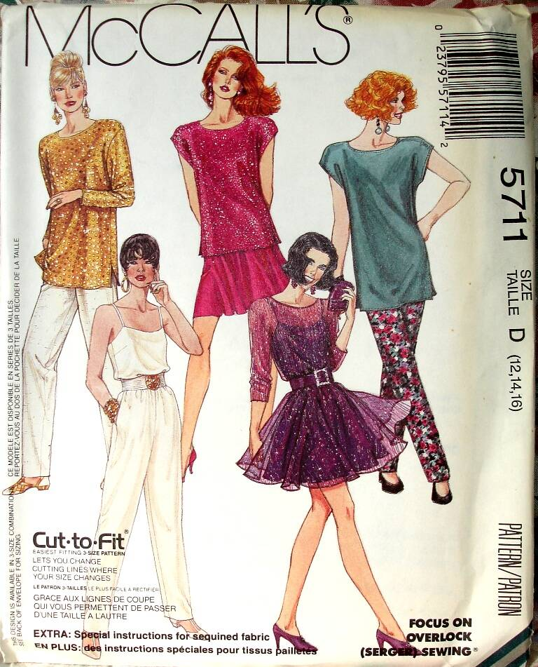 McCall's 5711 Loose Fitting Top Camisole Circular Skirt And Pull On Pants Size D (12-14-16)
