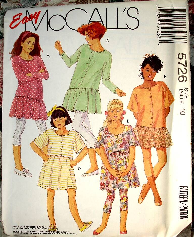 McCall's 5726 Girls And Chubbies Dress Or Tunic And Capri Leggings Size 10