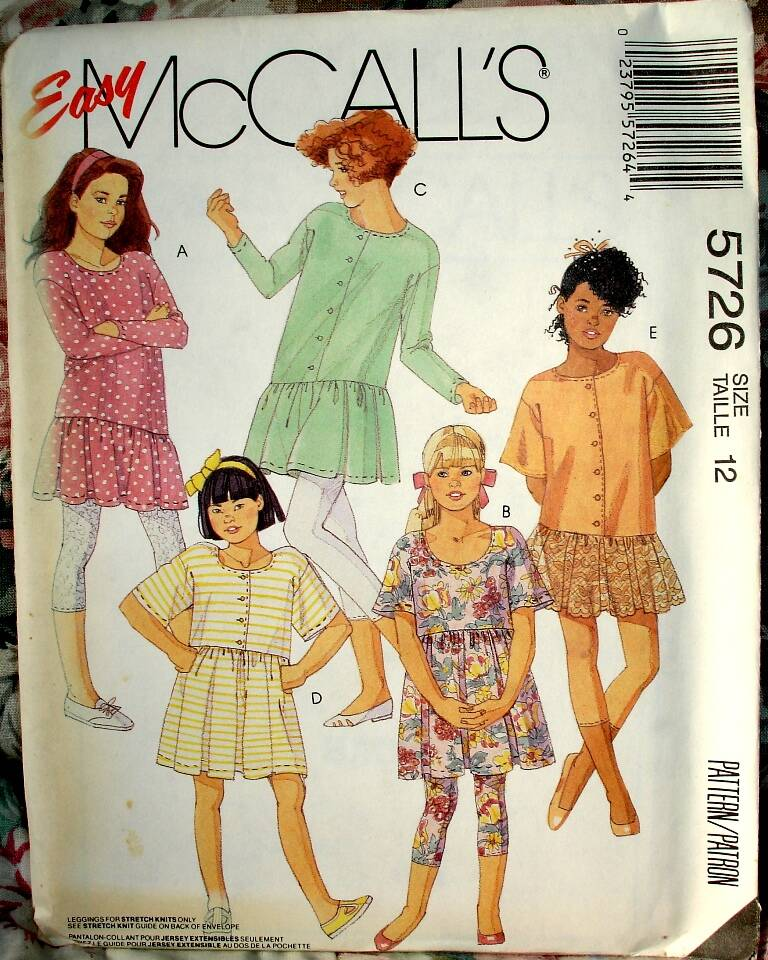 McCall's 5726 Girls or Chubbies Dress Or Tunic And Capri Leggings Size 12