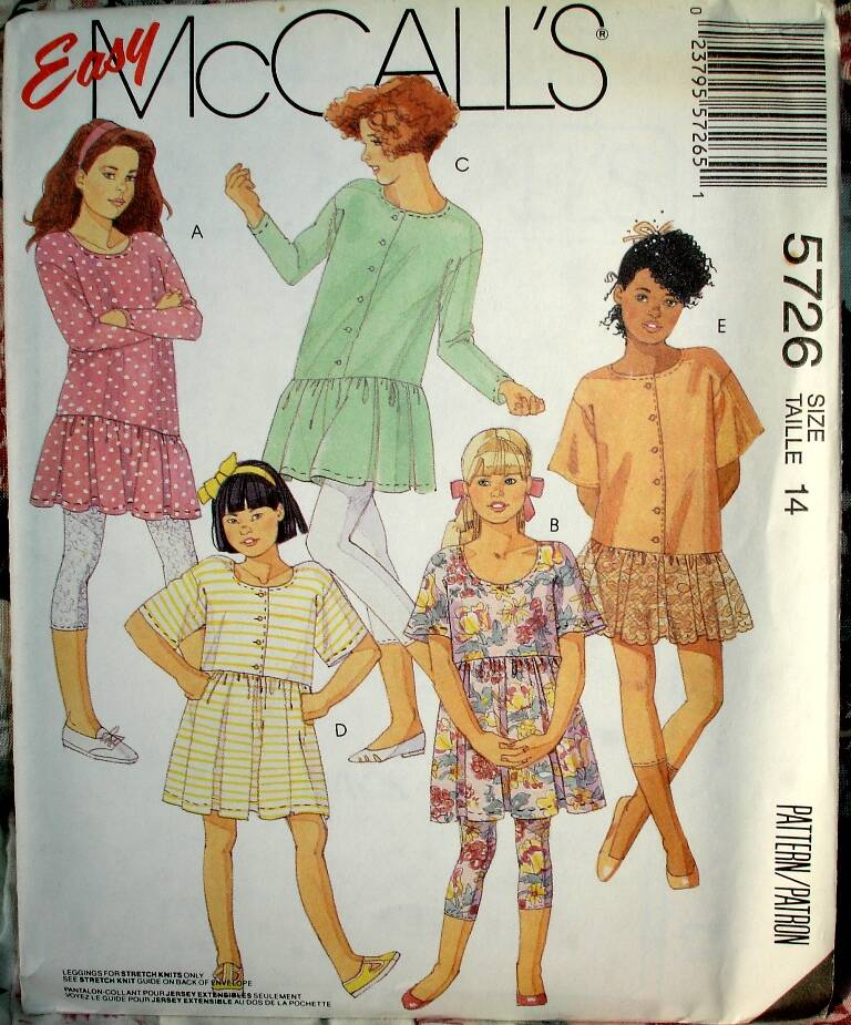 McCall's 5726 Girls And Chubbies Dress Or Tunic And Capri Legging Size 14