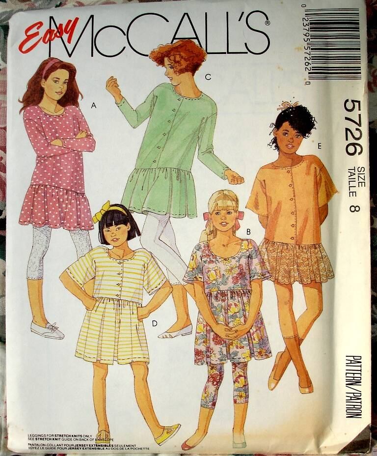 McCall's 5726 Girls And Chubbies Dress Or Tunic And Capri Legging Size 8