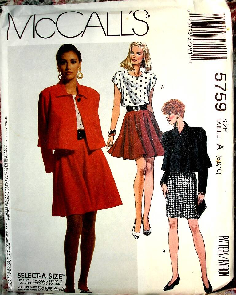 McCall's 5759 Unlined Loose Fitting Jacket Top And Above Knee Skirts