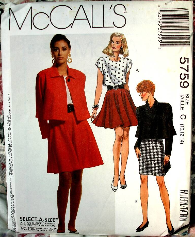 McCalls 5759 Unlined Loose Fitting Jacket Top And Above Knee Skirts (Size C 10-12-14)
