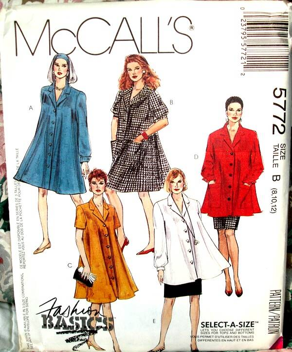McCall's 5772 One Or Two Piece Tent Shaped Dress And Straight Skirt Size B (8-10-12)