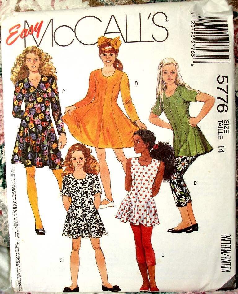 McCall's 5776 Girls Semi Fitted Flared Dress Or Tunic And Leggings Size 14