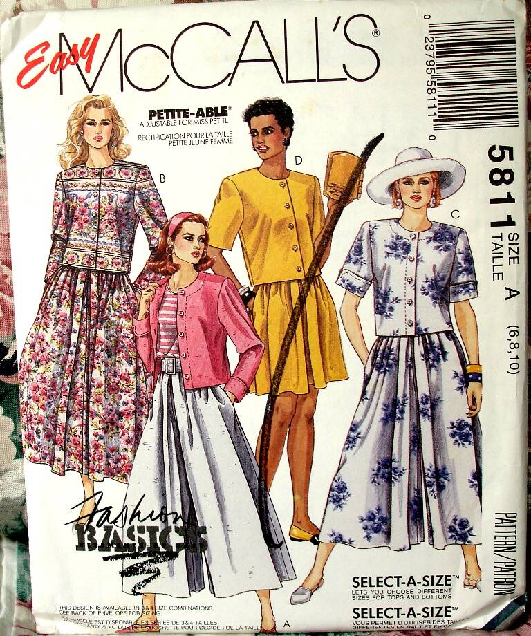 McCall's 5811 Two Piece Dress With Split Skirt in Two Lengths Or Skirt Size A (6-8-10)