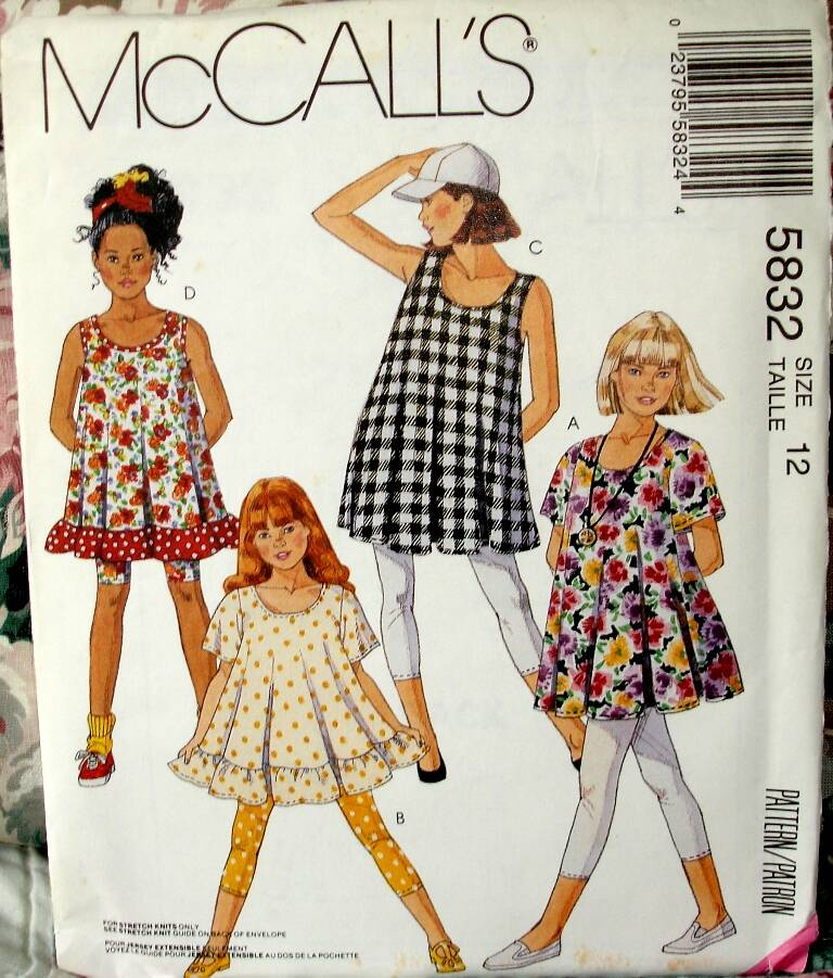 McCall's 5832 Girls Trapeze Shaped Pullover Tunic And Leggings Size 12
