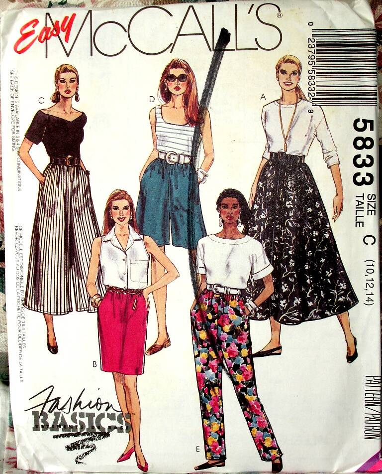 McCall's 5833 Misses Pull-On Skirts Split Skirts And Tapered Pants Size C (10-12-14)