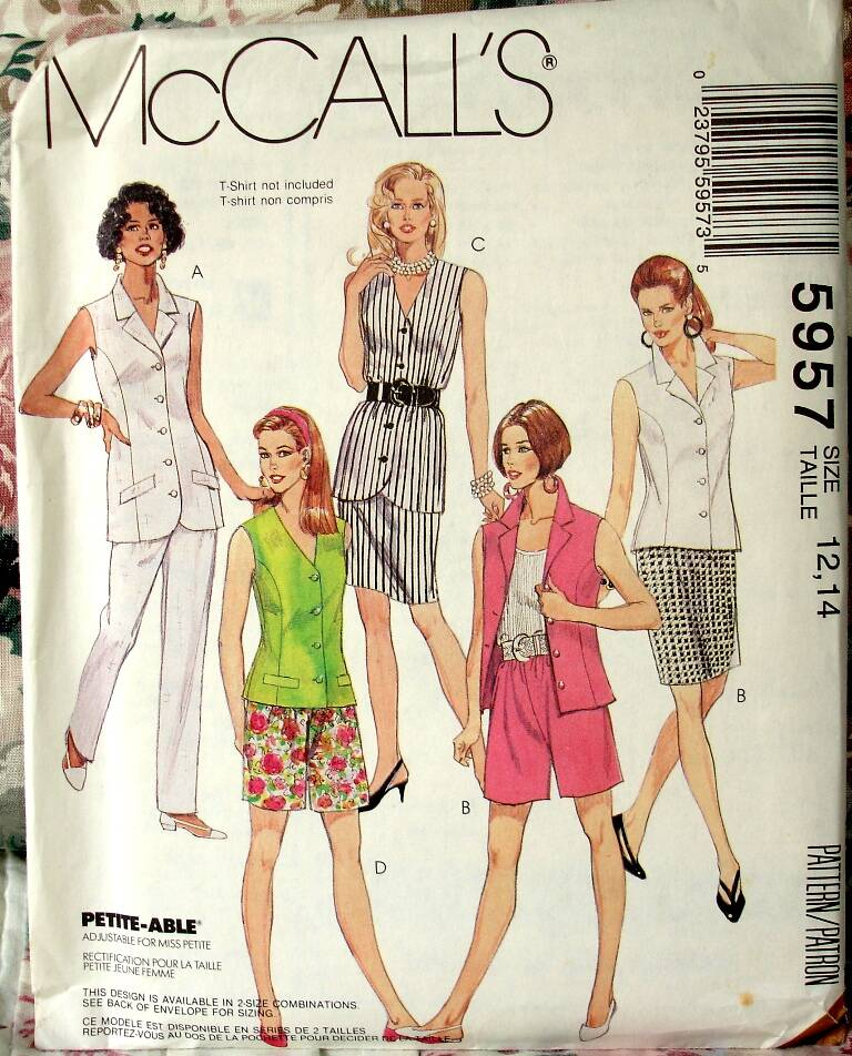 McCall's 5957 Blouse In Two Lengths Skirt And Pants Or Shorts Size 12-14