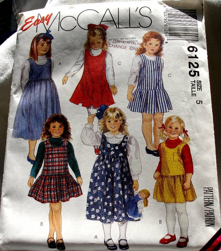 McCall's 6125 Children And Girls Pullover Jumper Two Lengths Pattern Size 5