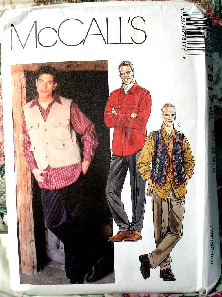 McCall's 7817 Men's Unlined Vest Shirt And Pants Size MS (52-54-56)