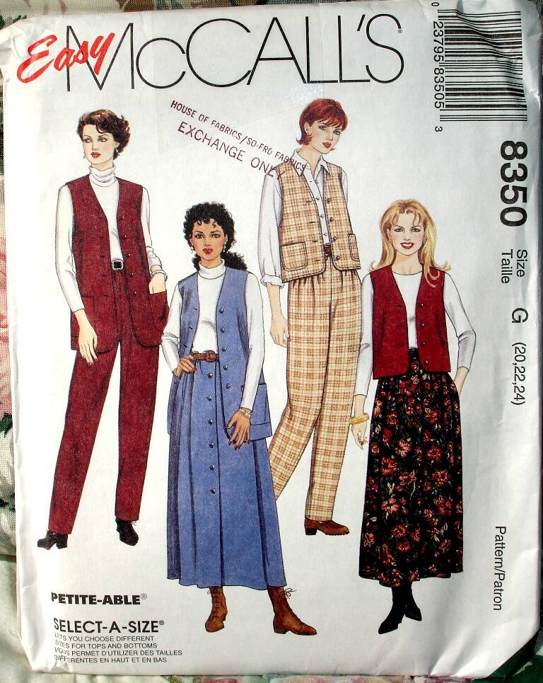 McCall's 8350 Misses Lined Vest in Two Lengths, Pants And Skirt Pattern Size G