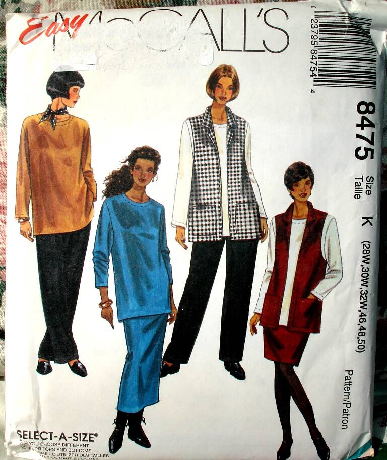 McCall's 8475 Women's Vest, Top, Pull-On Pants And Skirt In Two Lengths Size K