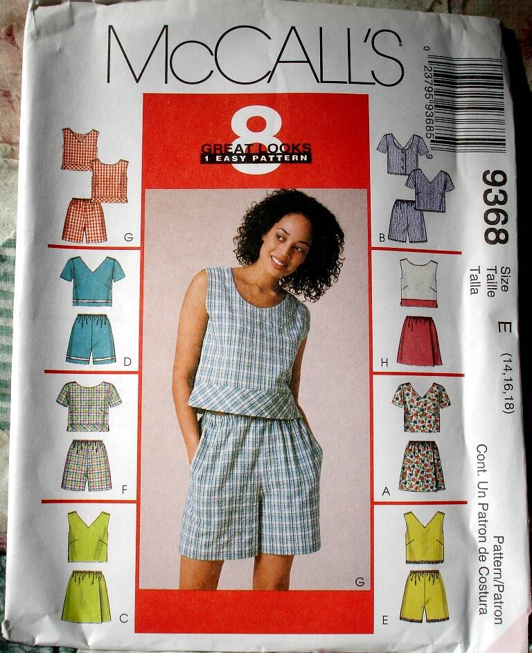 McCall's 9368 Misses Tops And Pull On Short Or Skort Size E (14-16-18)