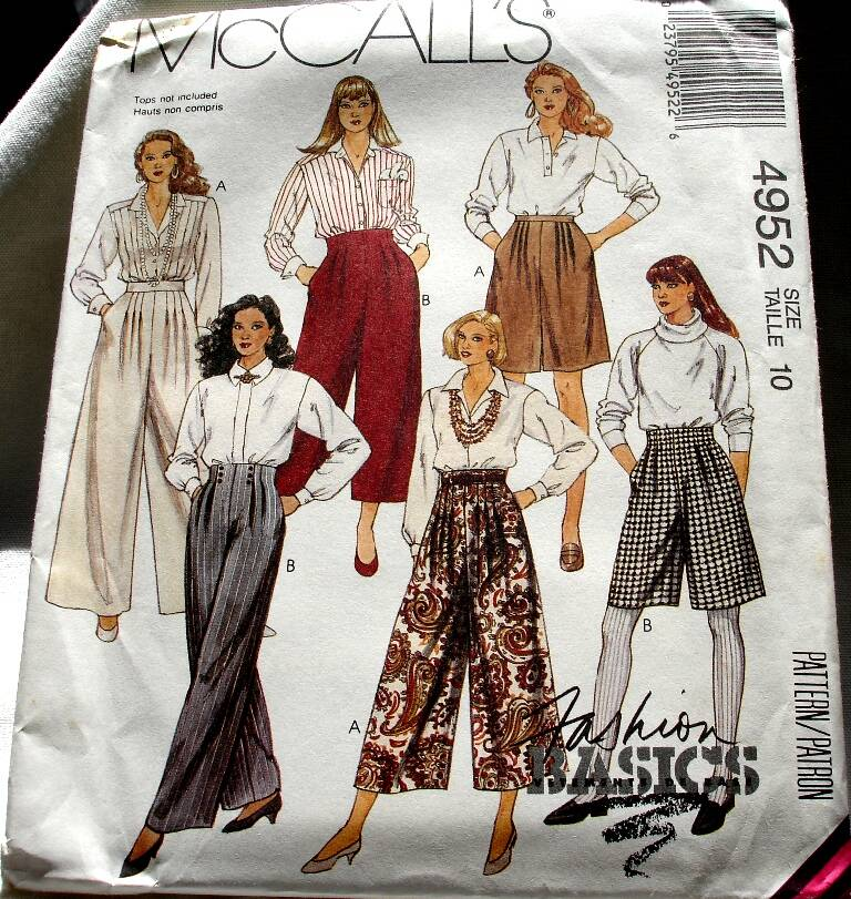 McCall's 4952 Misses Wide Leg Pants In Two Lengths And Shorts Pattern Size 10