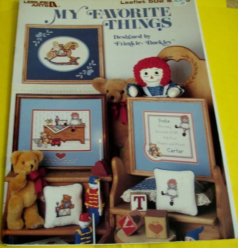 My Favorite Things Cross Stitch Leisure Arts Leaflet #502 Designed By Frankie Buckley