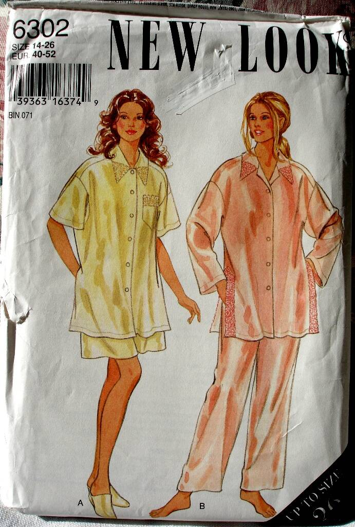 New Look 6302 Silky Pajamas Features Top Short And Pants Size 14-26