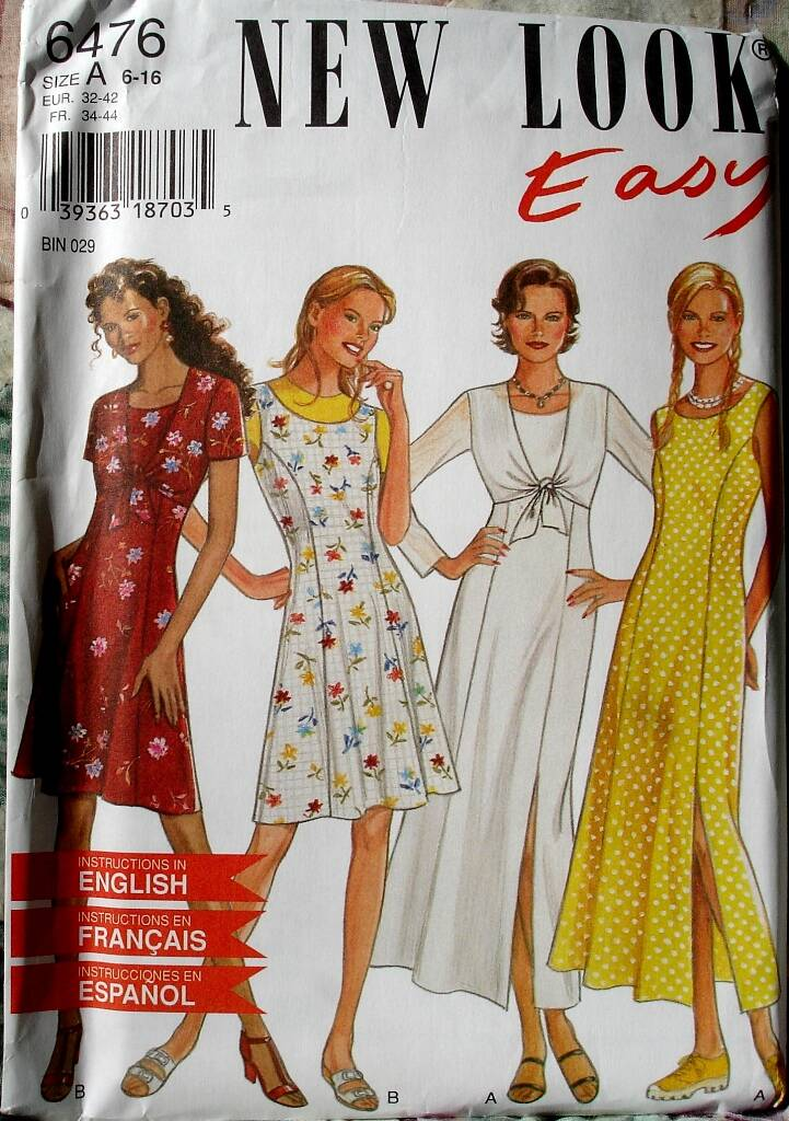 New Look 6476 Misses Princess Seamed Dress in Two Lengths And Jacket Size A (6-16)