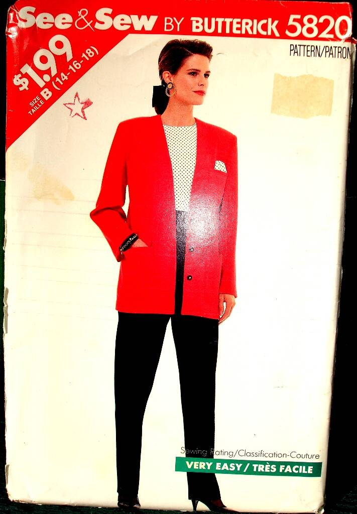 See & Sew 5820 Jacket and Pants Pattern By Butterick