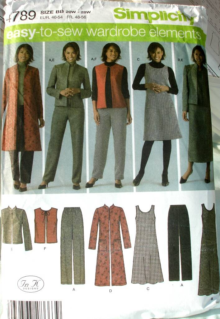 Simplicity 4789 Women's Pants Vest Jacket And Jumper In Two Lengths Size BB(20W-28W)