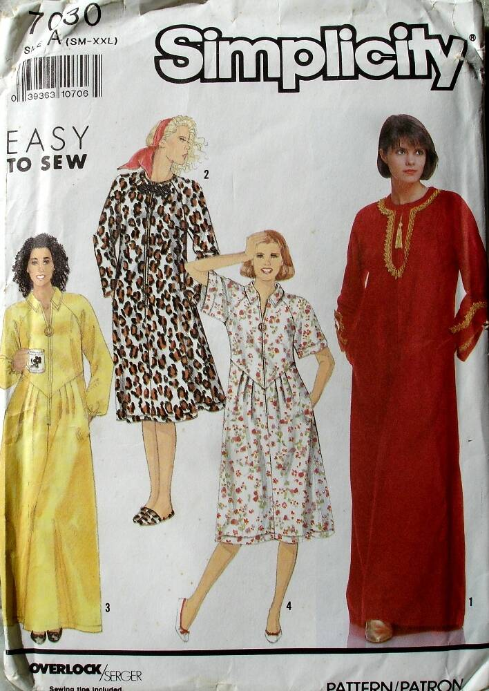Simplicity 7030 Misses Caftans Each In Two Lengths Size A (Sm-XXL)