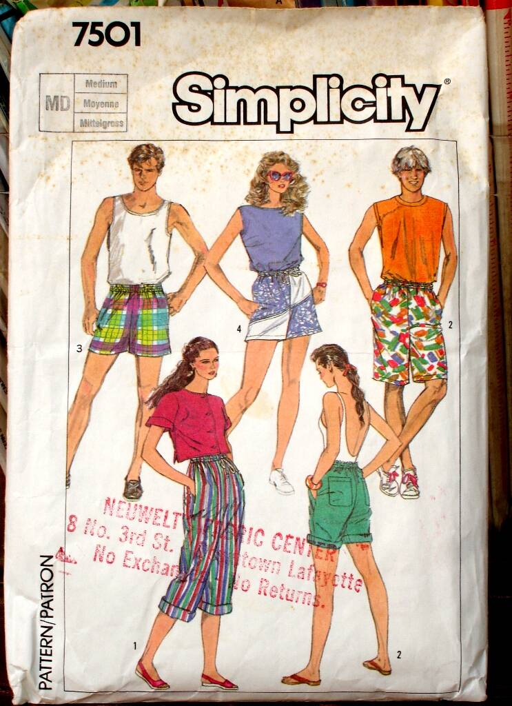 Simplicity 7501 Misses, Men's And  Teen Boys Easy To Sew Jams In Three Lengths Size -Medium