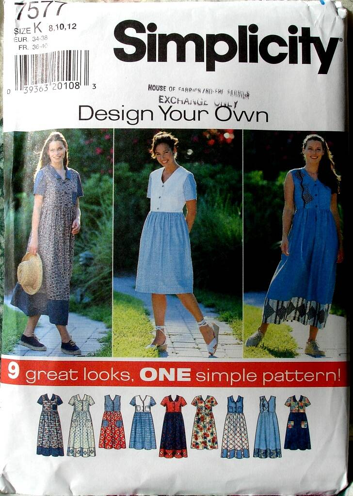 Simplicity 7577 Misses Dress With Full Skirt Design Your Own Size K(8-12)