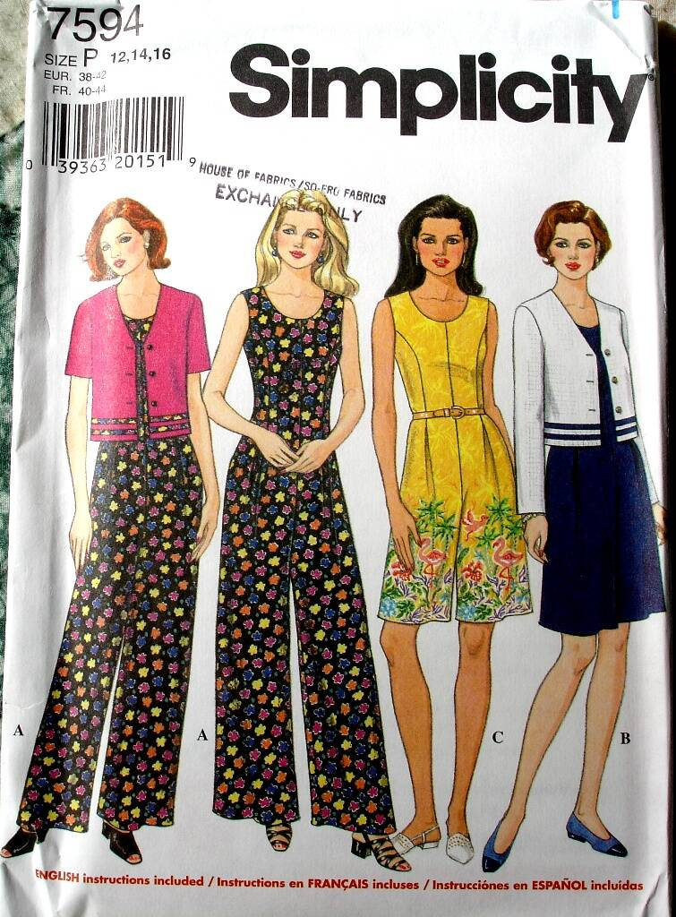 Simplicity 7594 Misses Semi-Fitted Jumpsuit and Loose Fitting Jacket Size P (12-16)