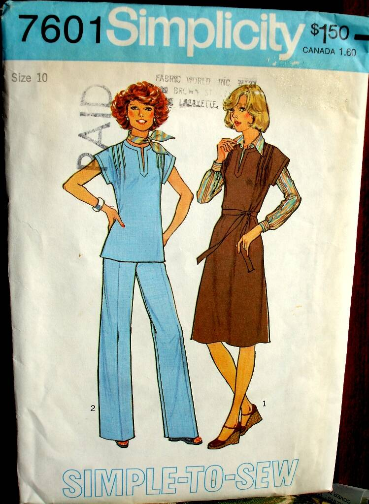 Simplicity 7601 Pullover Dress Jumper Or Top And Pants Pattern Size 10