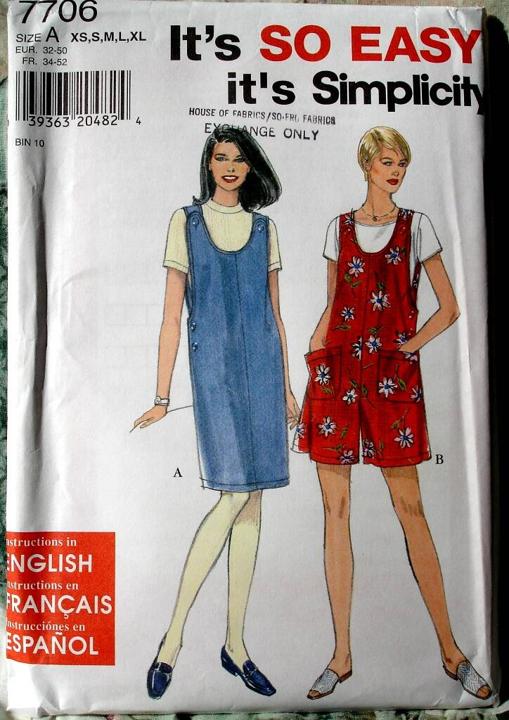 Simplicity 7706 Knee Length Jumper And Above Knee Length Romper Size A (XS-XL)