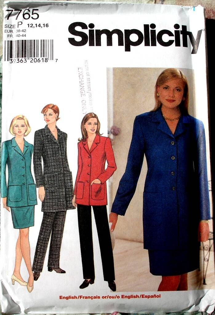 Simplicity 7765 Lined Semi-Fitted Business Jacket Skirt And Pants Size P (12-16)